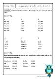 Order six-digit integers, decimal fractions and negative n