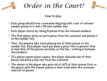 Order in the Court! A game of rational numbers, value, and order!