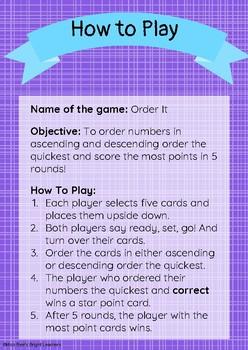 Ascending and Descending Order Game (GRADES K to 5)