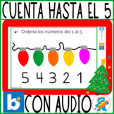 Order numbers to 5, Christmas lights Spanish Boom Cards PreK, K and Sped audio