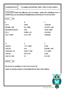 Order numbers using place value multiplication/division 10 100 1000 (worksheet)