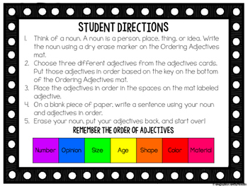 Order of Adjectives Fourth Grade Language Standard L.4.1d