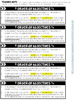 Order of Adjectives Practice Pages and Assessment