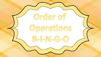 Order of Operation Bingo