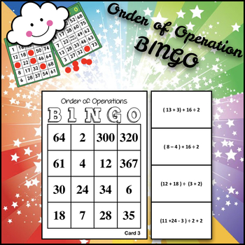 Math BINGO: Order of Operation *no exponents*
