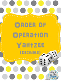 Order of Operation: Decimal Yahtzee