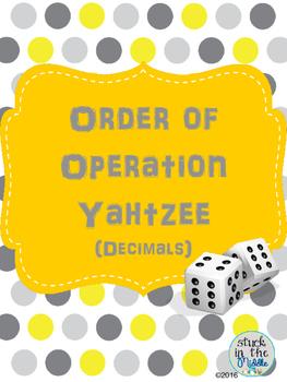 Order of Operation: Decimal Yahtzee