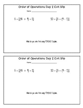 {FREE} Order of Operation Exit Slips
