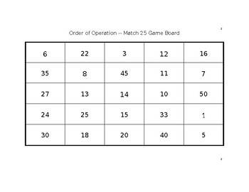 Order of Operation Game -- Match 25