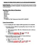 Order of Operation Lesson Plan Worksheet Exam