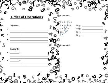 Order of Operation Guided Math Notes