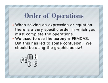 Order of Operation Notes