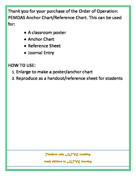 Order of Operation- PEMDAS Anchor Flow Chart