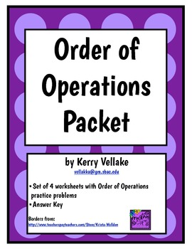 Order of Operation Packet