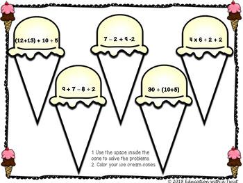 Order of Operations PEMDAS Ice Cream Math