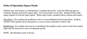 Order of Operation Puzzel