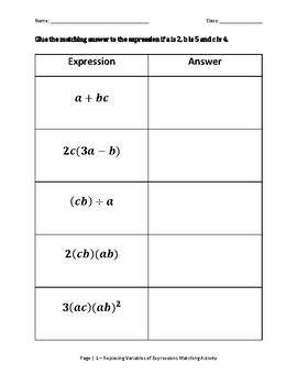 Replace Variables of Expressions and Solve Matching Activity