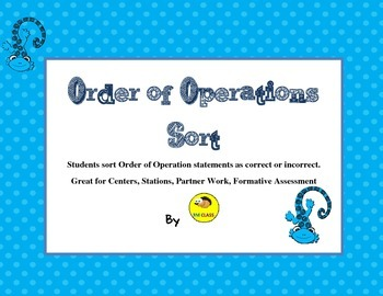 Order of Operations Sort Activity for Centers or Stations No Exponents