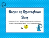 Order of Operations Sort Activity for Centers or Stations