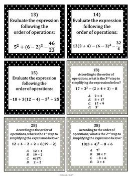 Order of Operation Task Cards (Algebra)