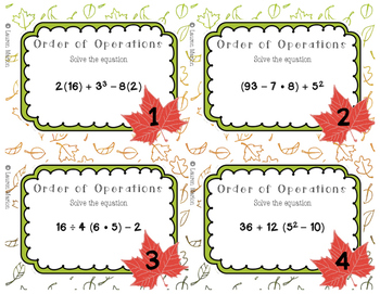 Order of Operation Task Cards - Fall Themed