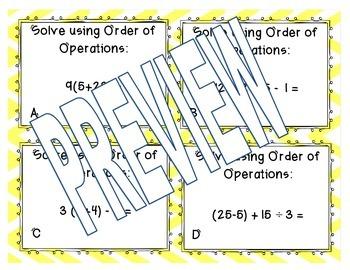 Order of Operation Task Cards (VA SOL Math 5.7)