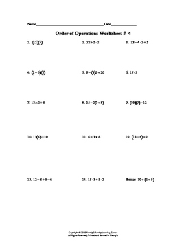 Order of Operation Worksheet # 4