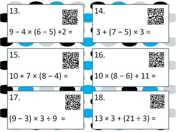 Order of Operation with and without QR codes