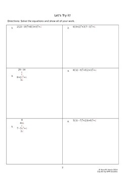 Order of Operations: Multi-Step Equation Homework or Extra Help Worksheets