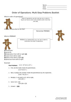 Order of Operations: Multi-Step Equation Homework or Extra