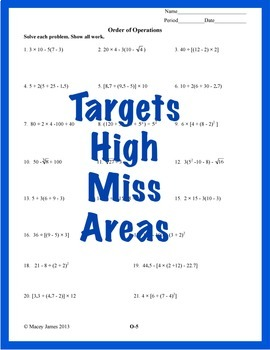 Order of Operations: Worksheets for the Middle School Student