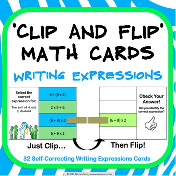 Order of Operations Task Cards: Writing Expressions From Words (5.OA.A.2)
