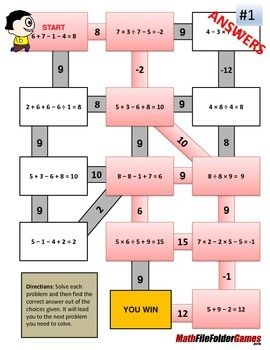Order of Operations Maze (No Exponents & No parentheses/brackets)
