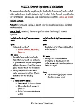 Order of Operations 2 Day Lesson Plan