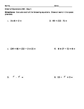 Order of Operations 2 Days of Homework 6.EE.1