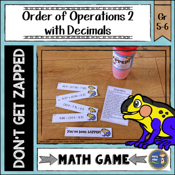 Order of Operations 2 Decimals Don't Get ZAPPED Math Game