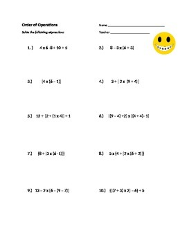 5th Grade: Order of Operations