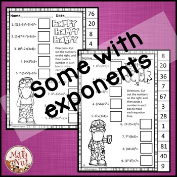 """Order of Operations Worksheets """"Troll Theme"""""""