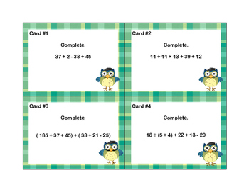 Order of Operations-24 Math Task Cards-Grades 6-7