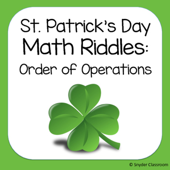 St. Patrick's Day Order of Operations Math Riddles