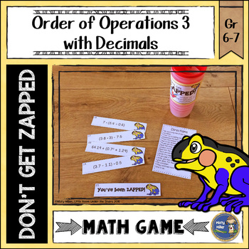 Order of Operations 3 Decimals Don't Get ZAPPED Math Game