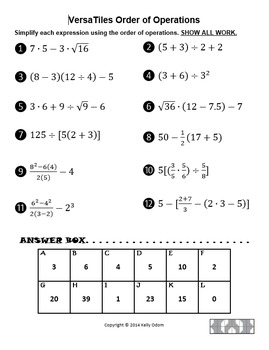 Order of Operations (3 to 8 steps) for VersaTiles