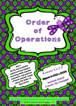 Order of Operations Quiz, Multiple Choice, PEMDAS, Evaluate Expressions