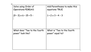 Order of Operations 4 Squares