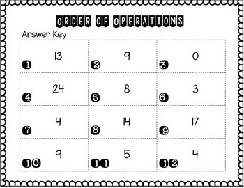 Order of Operations:  5 Operations Add, Subtract, Multiply, Divide, Parenthesis