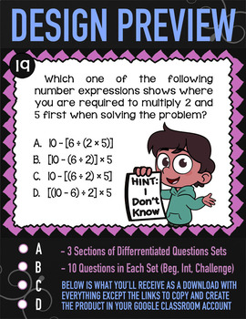 Order of Operations ★ 5th Grade Google Classroom ★ Parentheses & Brackets 5.OA.1