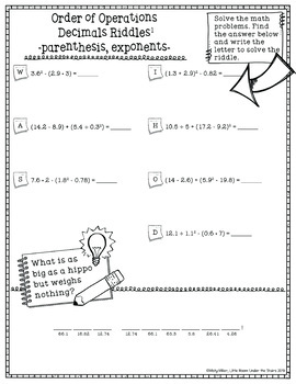 Order of Operations 6 Decimals with Parenthesis and Exponents Math with Riddles
