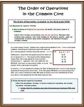 Order of Operations - A New Approach to Using and Understanding PEMDAS
