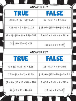 Order of Operations: A True/False Sort: 5.4F