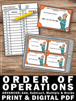 Order of Operations Task Card with Parenthesis, Advanced 5th Grade Math Review